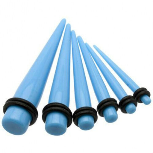 1 Pair Straight Blue Acrylic Tapers Piercings Gauges Ear Plugs Stretchers 12g