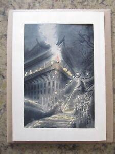 Antiques Eiichi Kotozuka Giapponese Xilografia Stampato O-mizutori Presso Nigatsudo Hall