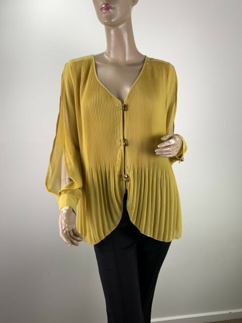 FINDERS KEEPERS MUSTARD PLEATED KEYHOLE BACK LONG SLEEVE SHIRT SIZE 8 (F00120)