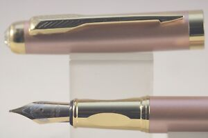HERO No. 7031 Rose Gold Fine Fountain Pen with Gold Trim & Cut Glass Top