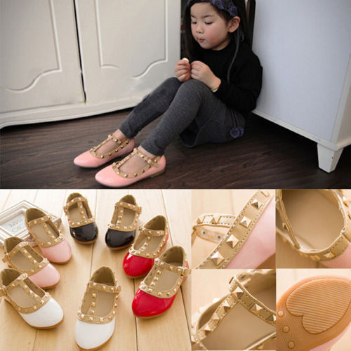 Fashion Cute Princess Girls Toddler Kids Sandals Rivet Buckle T-strap Flat Shoes