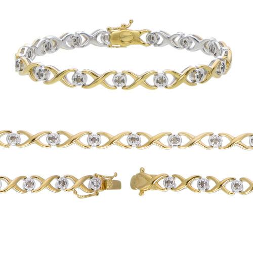 1//2 cttw Champagne Diamant Infinity Bracelet or jaune plaqué sur argent .925