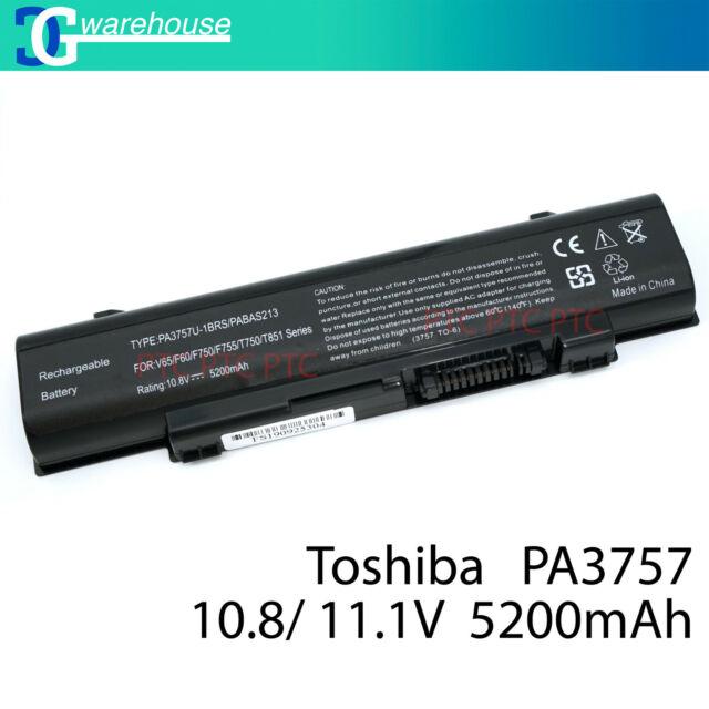6Cell Battery for Toshiba Qosmio F60 F750 F755 T750 T751 PABAS213 PA3757U-1BRS