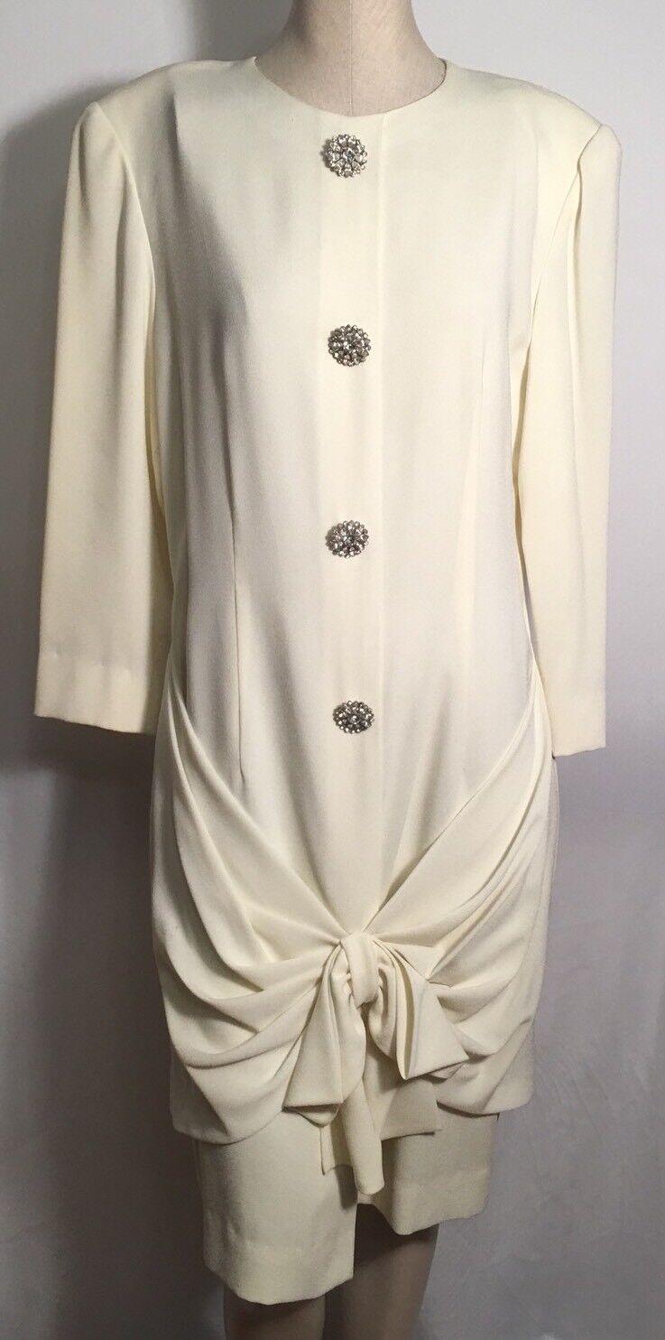 Vintage Akira Beige Long Sleeves Brig Big Bow Front Button Front SZ L Dress