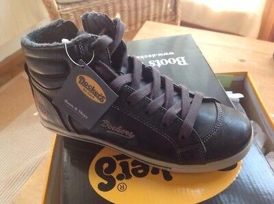 Mädchen Sneakers Dockers hohe Schuhe gefüttert schwarz Gr. 34 NEU