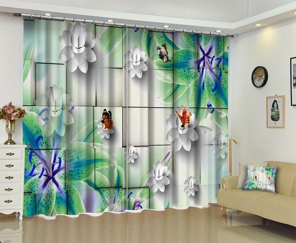 3D Flor Art 6 Cortinas de impresión de Cortina Blockout Foto Tela Cortinas Ventana Reino Unido