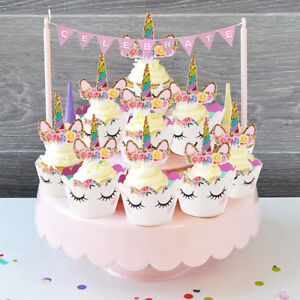 Image Is Loading 24Pcs Rainbow Cupcake Toppers Kids Birthday Party Cake