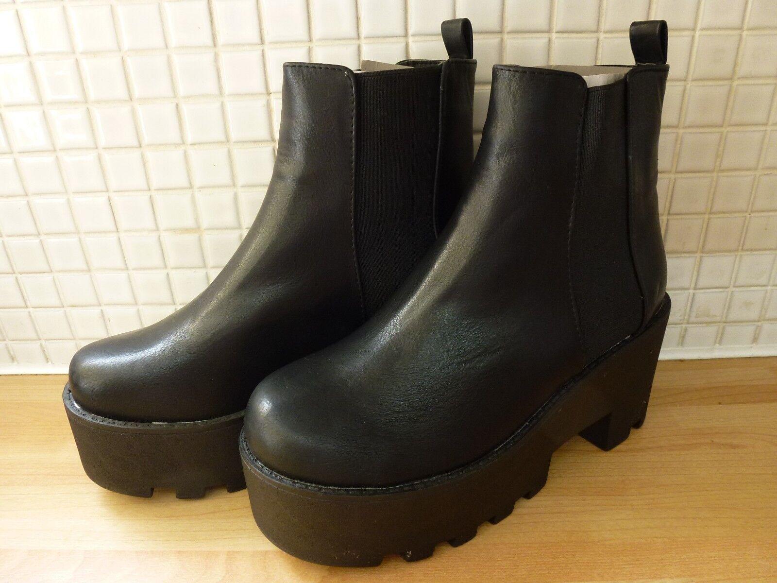 Salt & Pepper Womens Girls High Platform Chelsea Ankle Boots 3/36 NEW Black
