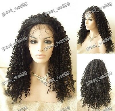 """18""""-28"""" New ! high quality  lace front full wig HAND TIED Synthetic Hair  #1B"""