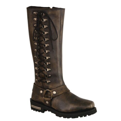 Women/'s Distressed Brown Classic Harness Square Toe Leather Boot  **MBL9368