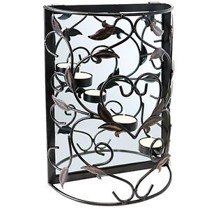 hartleys wall mounted decorative metal candle tealight holder mirror sconce 5051990714083 ebay. Black Bedroom Furniture Sets. Home Design Ideas