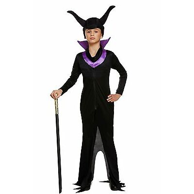 Girl Girls Maleficent Evil Queen Halloween Party Book Day Fancy Dress Costume