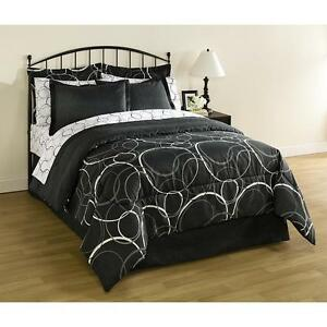 8 Pieces Bed In A Bag Bedding Set White Gray Black Circles