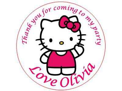 35 Personalised Hello Kitty Stickers 3 for 2 Thank you Party Seal Birthday