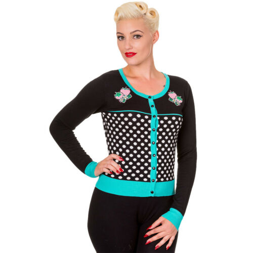 Banned Vintage Rockabilly Giacca In Maglia Cardigan Strawberry Paradise Turchese