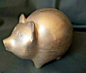 """Cast Aluminum Pig Still Bank 5""""Long x 4"""" Tall x 3"""" Wide Piggy"""