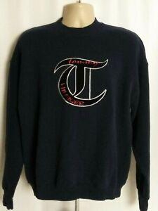 Tommy-Hilfiger-Vintage-Navy-Blue-Sweatshirt-Big-Logo-Mens-XL