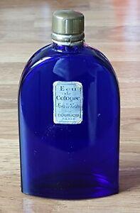 Bourjois-Paris-blue-glass-vintage-Art-Deco-antique-Eau-de-Cologne-scent-bottle