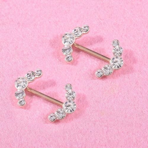 2PCS Women Stainless Steel Crystal Shields Bars Nipple Piercing Body Jewelry JIJ
