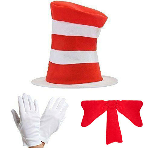 ADULT CAT IN THE HAT BOW TIE /& GLOVES KIT FANCY DRESS WORLD BOOK DAY COSTUME UK