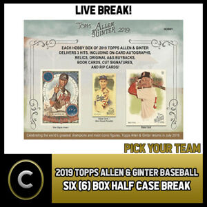 2019-TOPPS-ALLEN-amp-GINTER-BASEBALL-6-BOX-HALF-CASE-BREAK-A269-PICK-YOUR-TEAM