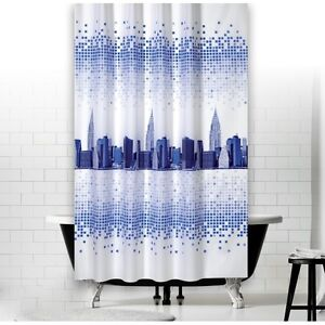 Rideau de douche en tissu modèle New York 180x200 cm blanc bleu incl ...