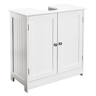 White Bathroom Sink Cabinet Under Basin Wooden Cupboard Storage Unit 2 Shelves
