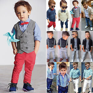 9af6beff0 Baby Boys Kids Gentleman Outfits Shirt Blazer Denim Jeans Long Pants ...