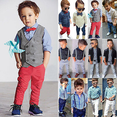 3pcs Boys Baby Toddler Kids Coat+Shirt+Jeans Pants Trousers Outfit Set Outerwear