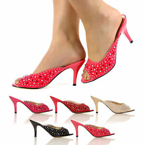 d8869a861a6 WOMEN SANDALS NEW HIGH FASHION LOW KITTEN HEEL MULES LADIES PARTY ...