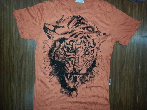 Hommes T Shirt à Manches Courtes Coton Tigre Papillon Animal Tatouage Inde M-New