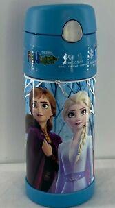 Disney-Frozen-2-Elsa-Anna-Olaf-Blue-Thermos-FUNtainer-Water-Bottle-Straw-12-OZ