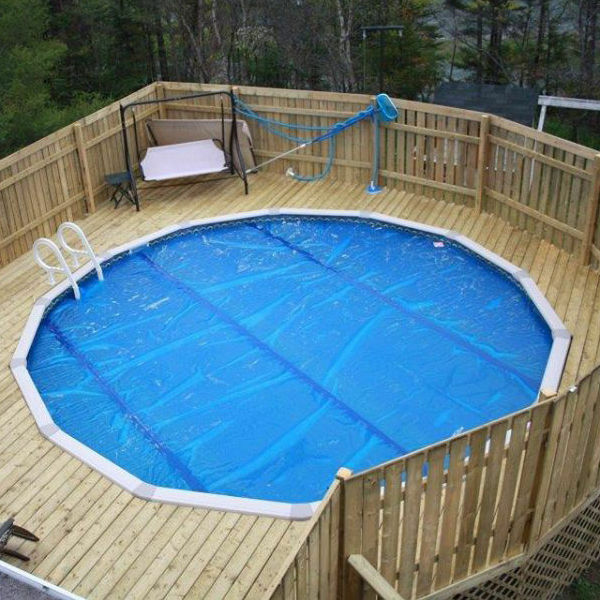 15 Foot By 30 Oval Solar Cover, Above Ground Pool Cover With Deck