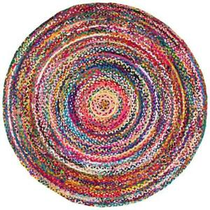 Area Rug Hand Made Braided Multicolor 3x3 Feet Chindi Round Rugs