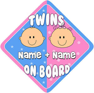 Child // baby on board New 1 Boy twins car sign