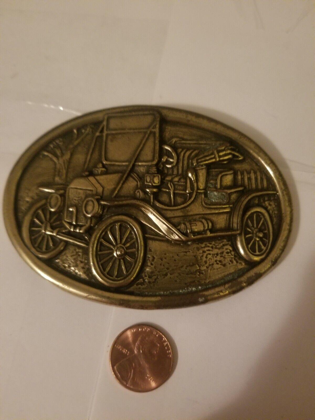 """WESTERN COWBOY ~ COWGIRL BRASS OLD CAR BELT BUCKLE"""" AVON"""""""