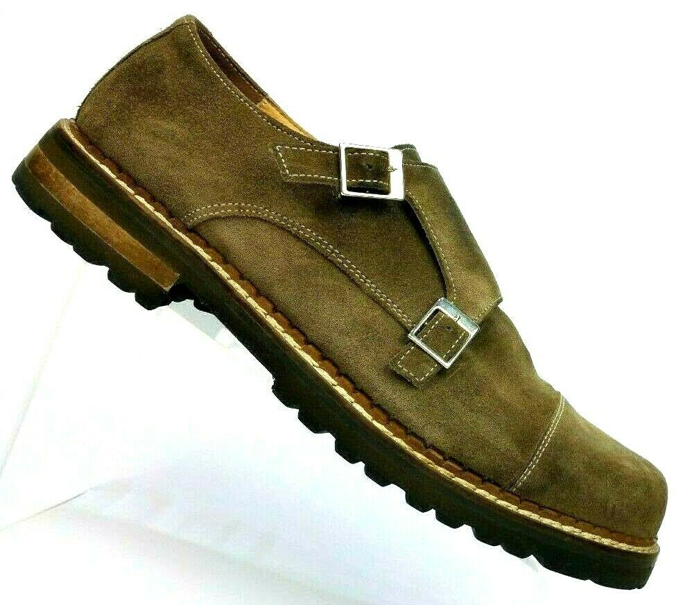 Mercanti Fiorentini Brown Suede Leather Double Monk Strap  7339 Men's 11 M