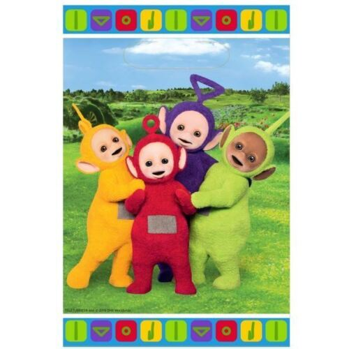 Teletubbies Plastic Party Loot Bag 8 Pack Childrens Birthday Celebration Favours