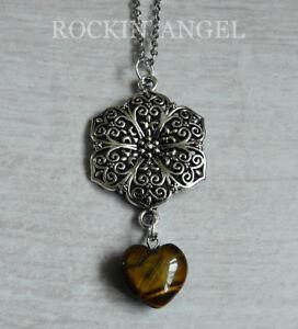 Antique Silver Plt Flower /& Carnelian Agate Heart Pendant Chain Necklace Ladies