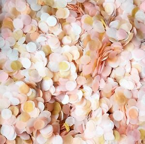 Vrac-Biodegradable-Mariage-Confettis-Rose-Blush-peche-or-Blanc-10-100-Poignees