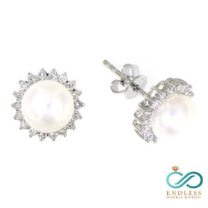 Solid-14K-Real-Natural-Diamond-White-Gold-4-41CT-Pearl-Sunflower-Stud-Earrings