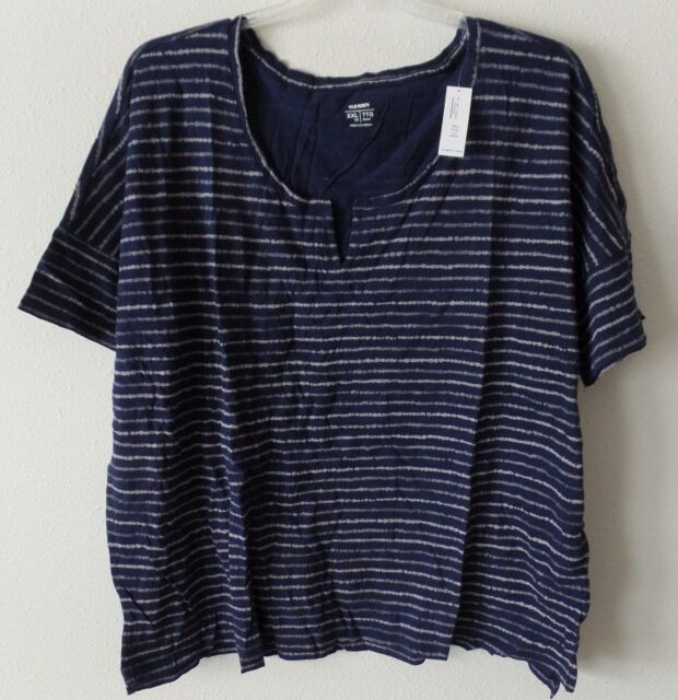 b2c336a7 Old Navy Womens 2XT XXLT XXL Tall V-Scoop Navy w/ White Stripe Top