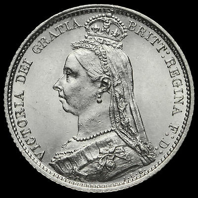 1887 Queen Victoria Jubilee Head Silver Sixpence, Withdrawn Type, A/UNC
