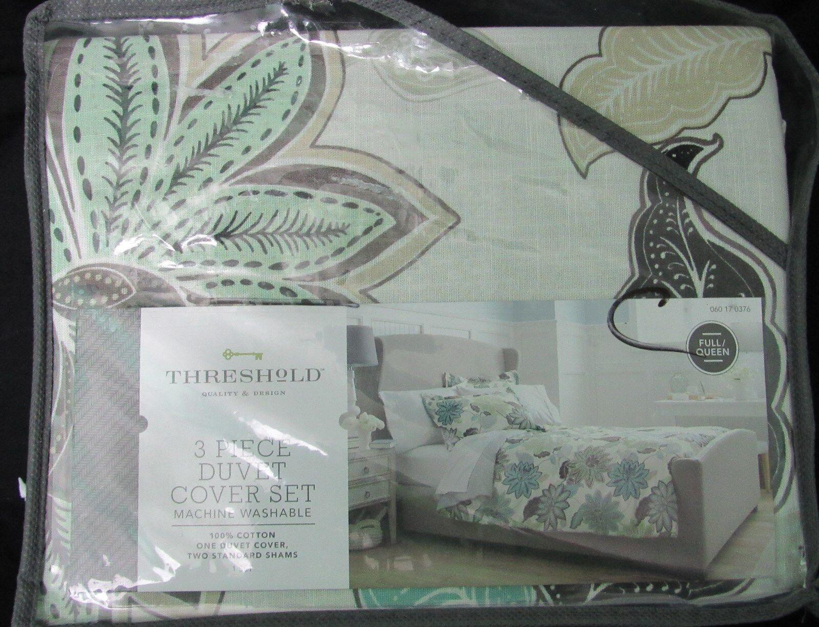 Threshold Floral Duvet Set F Q or King cotton 3 pc new