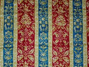 Vintage Waverly Bicentennial Heirloom Fabric Red Abstract Floral Pineapple 52x94