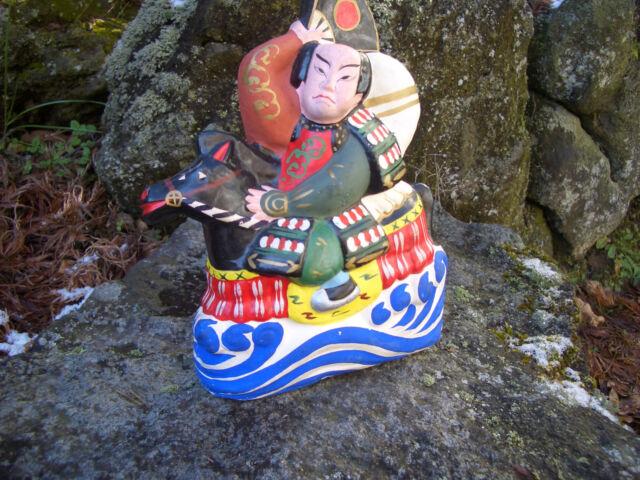 Japanese antique clay doll armour samurai rode a horse #s6