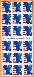 Scott #2598a Blue Eagle Postage Stamp booklet Pane of 18-29 cent mint MNH