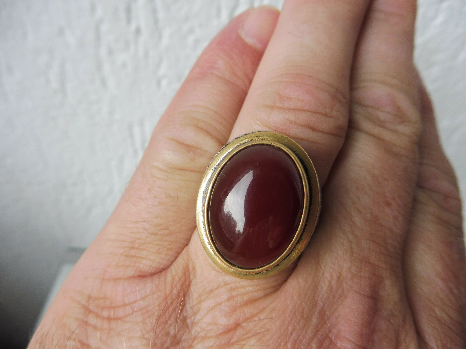 Muy Hermoso, Antiguo, size Anillo __ silver 925 con redbrownem Piedra