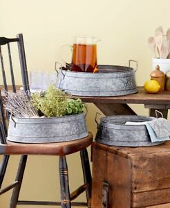 Set-of-3-Industrial-Metal-Storage-Buckets-Country-Farmhouse-Rustic-Home-Decor