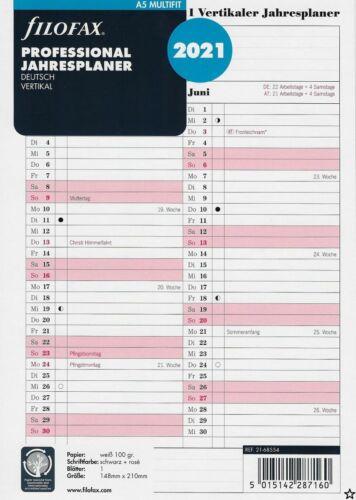 Professional Jahresplan 2021 deutsch vertik Filofax Kalendereinlage A5 Multifit